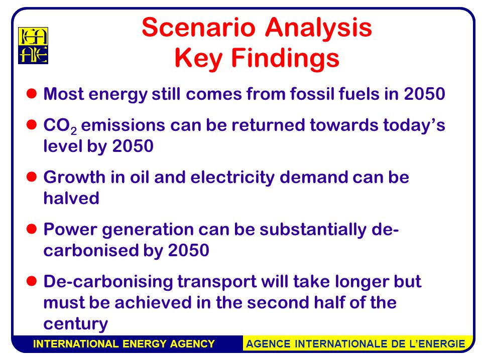 INTERNATIONAL ENERGY AGENCY AGENCE INTERNATIONALE DE L'ENERGIE Scenario Analysis Key Findings Most energy still comes from fossil fuels in 2050 CO 2 emissions can be returned towards today's level by 2050 Growth in oil and electricity demand can be halved Power generation can be substantially de- carbonised by 2050 De-carbonising transport will take longer but must be achieved in the second half of the century INTERNATIONAL ENERGY AGENCY AGENCE INTERNATIONALE DE L'ENERGIE