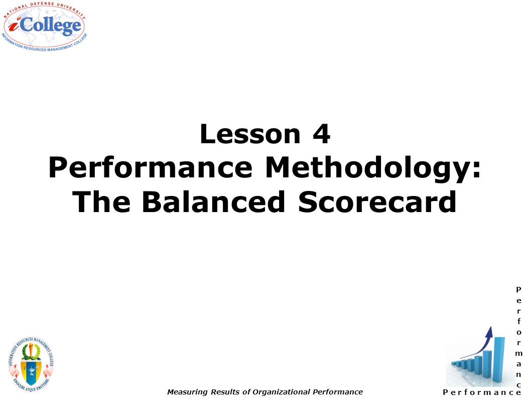 P e r f o r m a n c e Measuring Results of Organizational Performance Lesson 4 Performance Methodology: The Balanced Scorecard