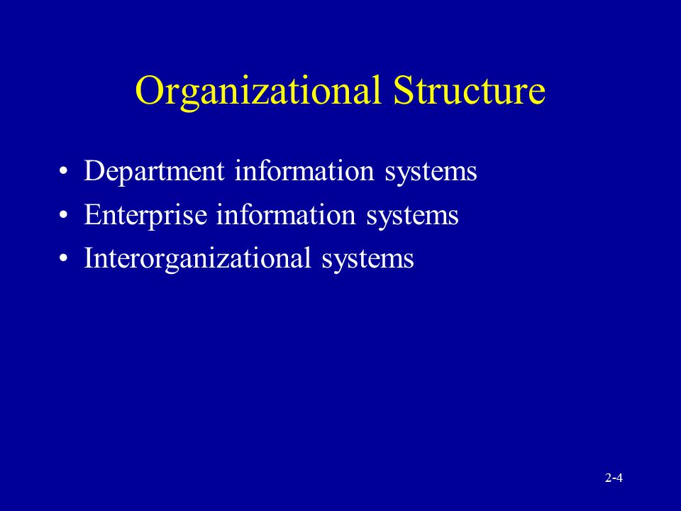 2-3 Classification of Information Systems Organizational structure Functional area Support provided System architecture