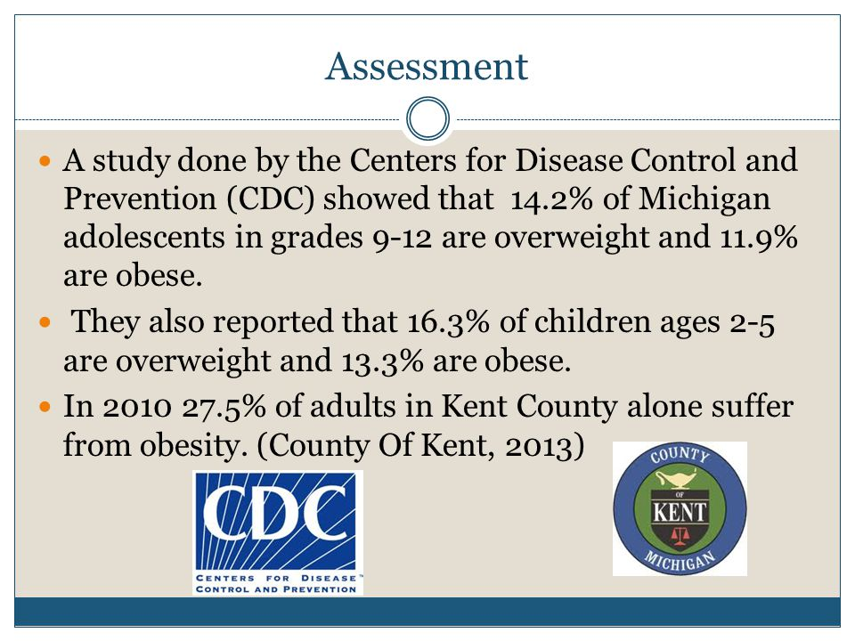 Assessment A study done by the Centers for Disease Control and Prevention (CDC) showed that 14.2% of Michigan adolescents in grades 9-12 are overweight and 11.9% are obese.