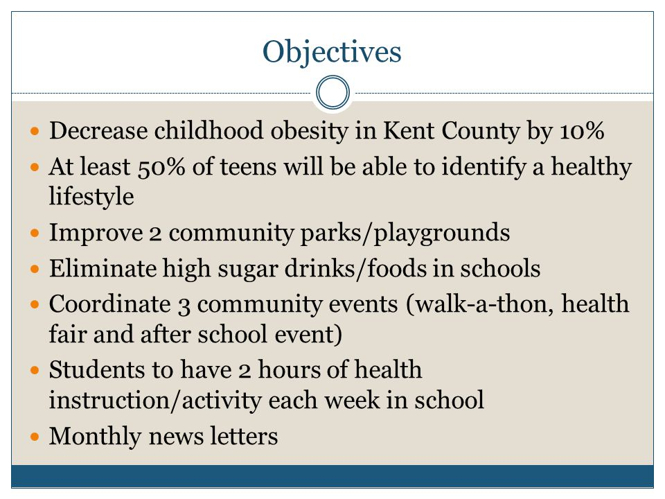 Objectives Decrease childhood obesity in Kent County by 10% At least 50% of teens will be able to identify a healthy lifestyle Improve 2 community parks/playgrounds Eliminate high sugar drinks/foods in schools Coordinate 3 community events (walk-a-thon, health fair and after school event) Students to have 2 hours of health instruction/activity each week in school Monthly news letters