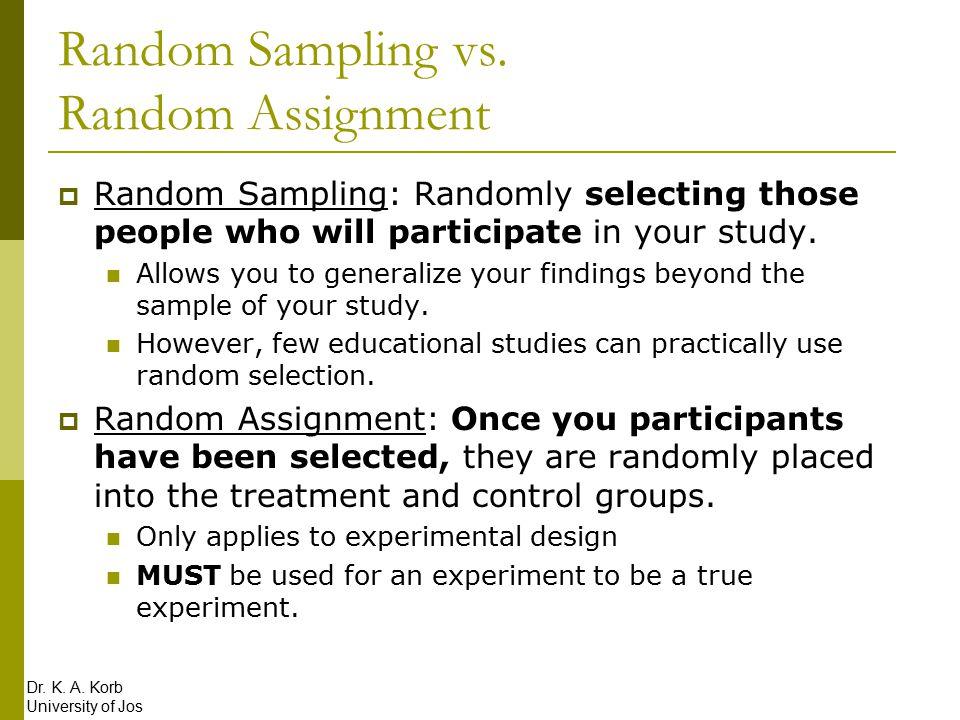 Random sampling vs random assignment