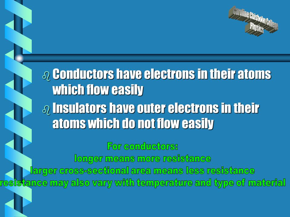 b Conductors have electrons in their atoms which flow easily b Insulators have outer electrons in their atoms which do not flow easily