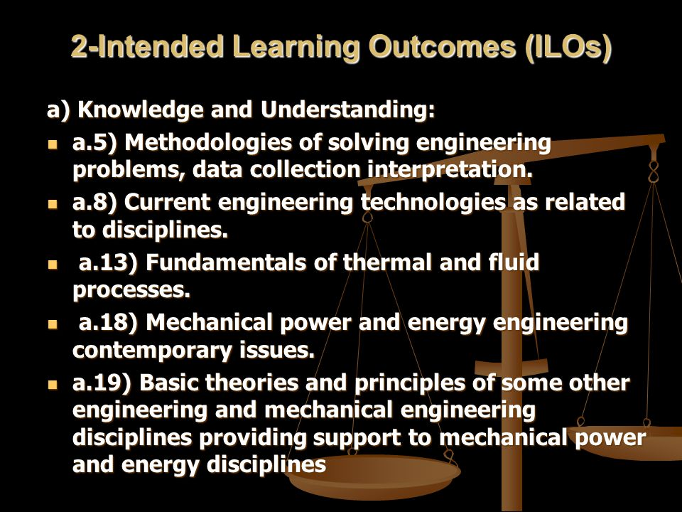 2-Intended Learning Outcomes (ILOs) a) Knowledge and Understanding: a.5) Methodologies of solving engineering problems, data collection interpretation.