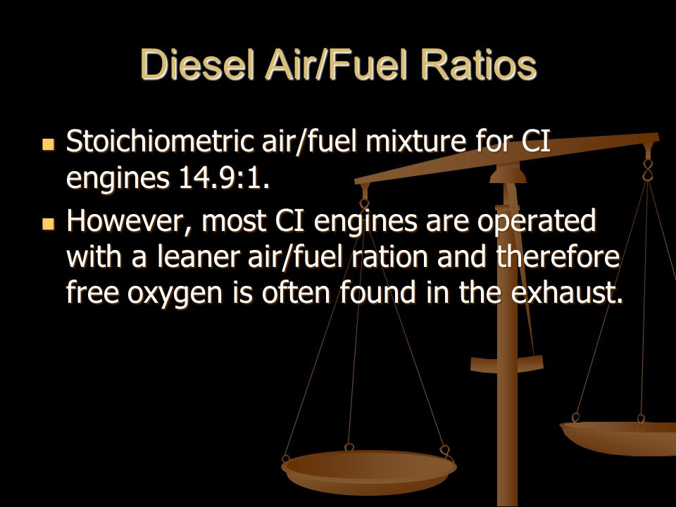 Diesel Air/Fuel Ratios Stoichiometric air/fuel mixture for CI engines 14.9:1.