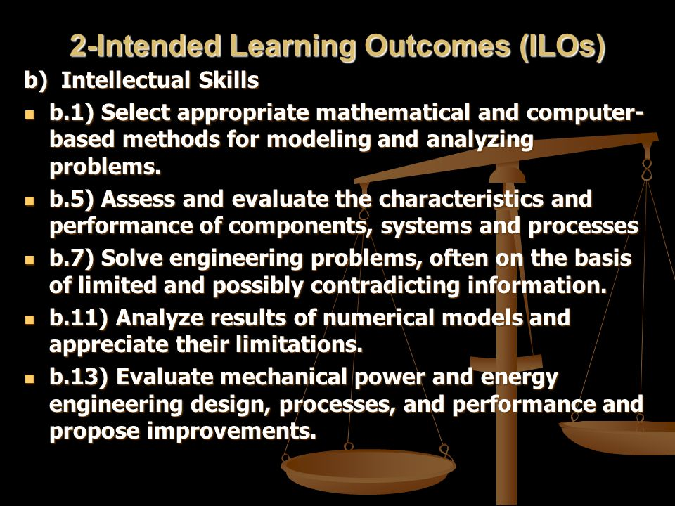 2-Intended Learning Outcomes (ILOs) b) Intellectual Skills b.1) Select appropriate mathematical and computer- based methods for modeling and analyzing problems.