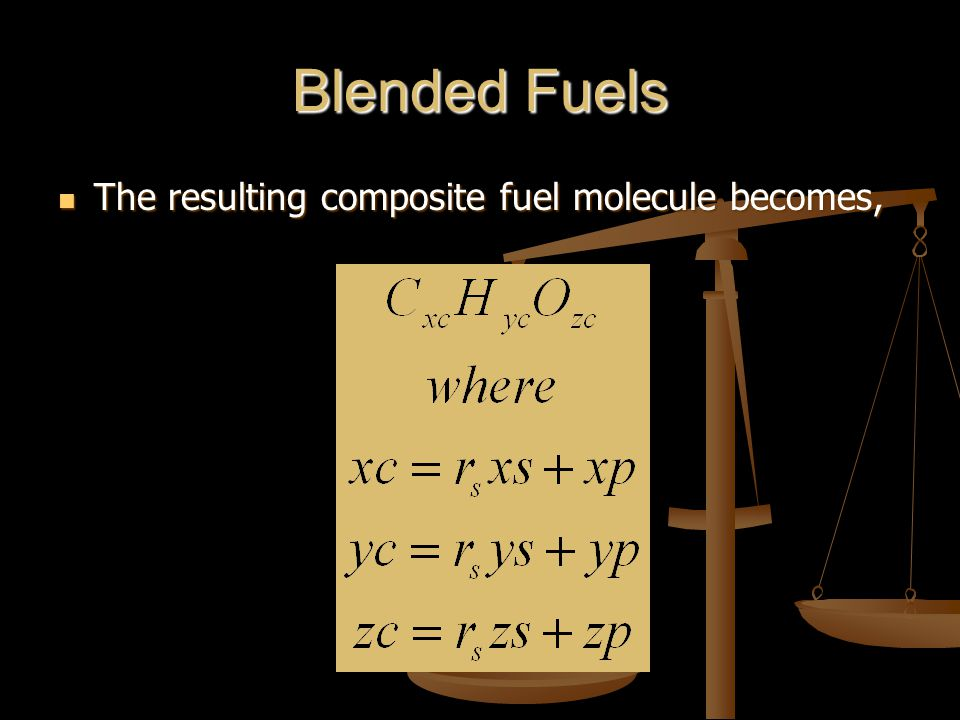Blended Fuels The resulting composite fuel molecule becomes, The resulting composite fuel molecule becomes,