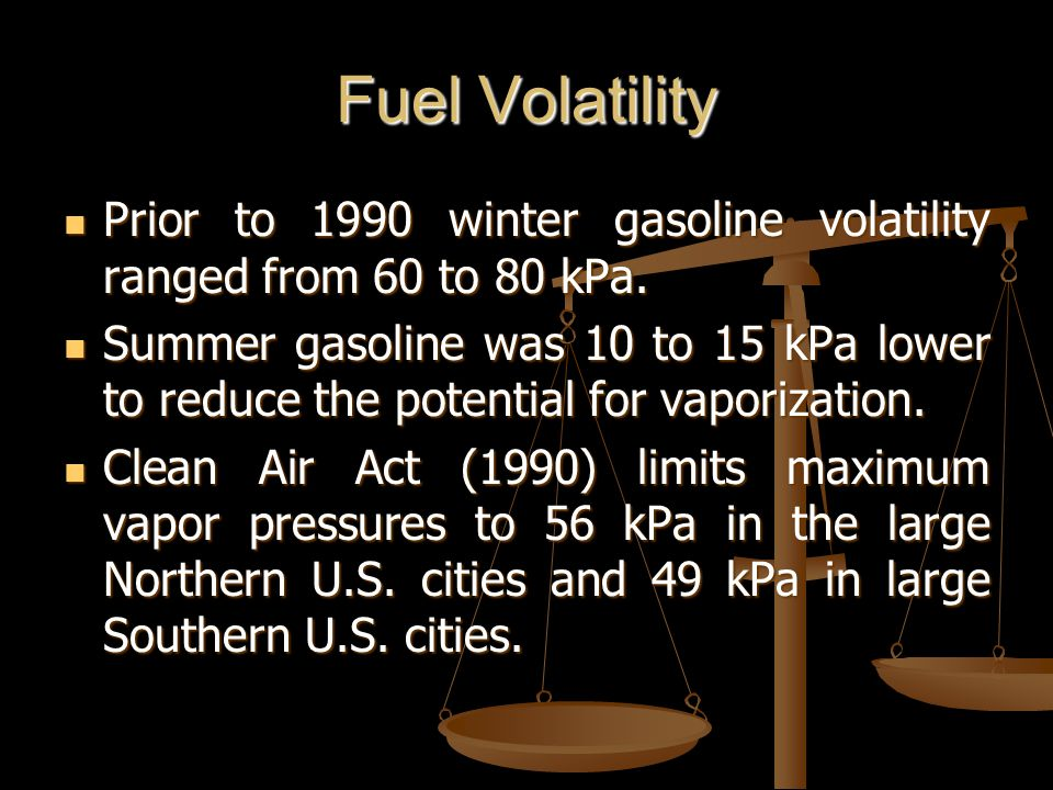 Fuel Volatility Prior to 1990 winter gasoline volatility ranged from 60 to 80 kPa.