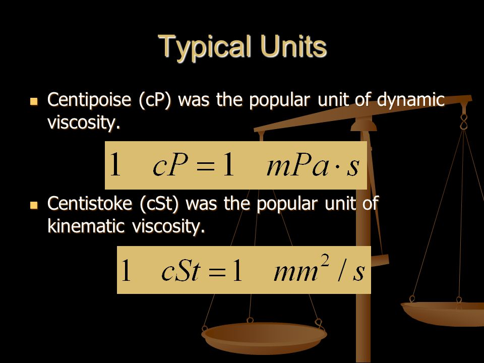 Typical Units Centipoise (cP) was the popular unit of dynamic viscosity.