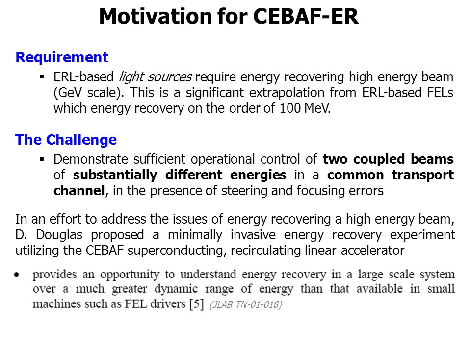 Motivation for CEBAF-ER Requirement  ERL-based light sources require energy recovering high energy beam (GeV scale).