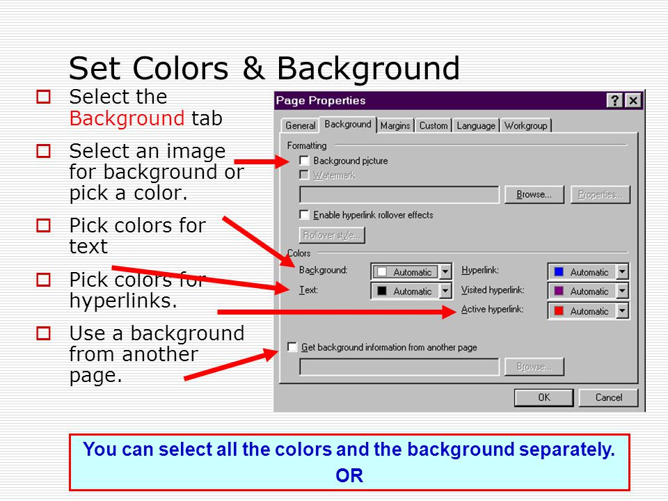 Set Colors & Background  Select the Background tab  Select an image for background or pick a color.