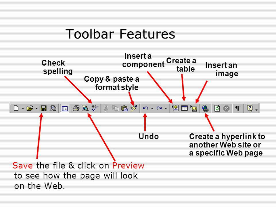 Toolbar Features Save the file & click on Preview to see how the page will look on the Web.
