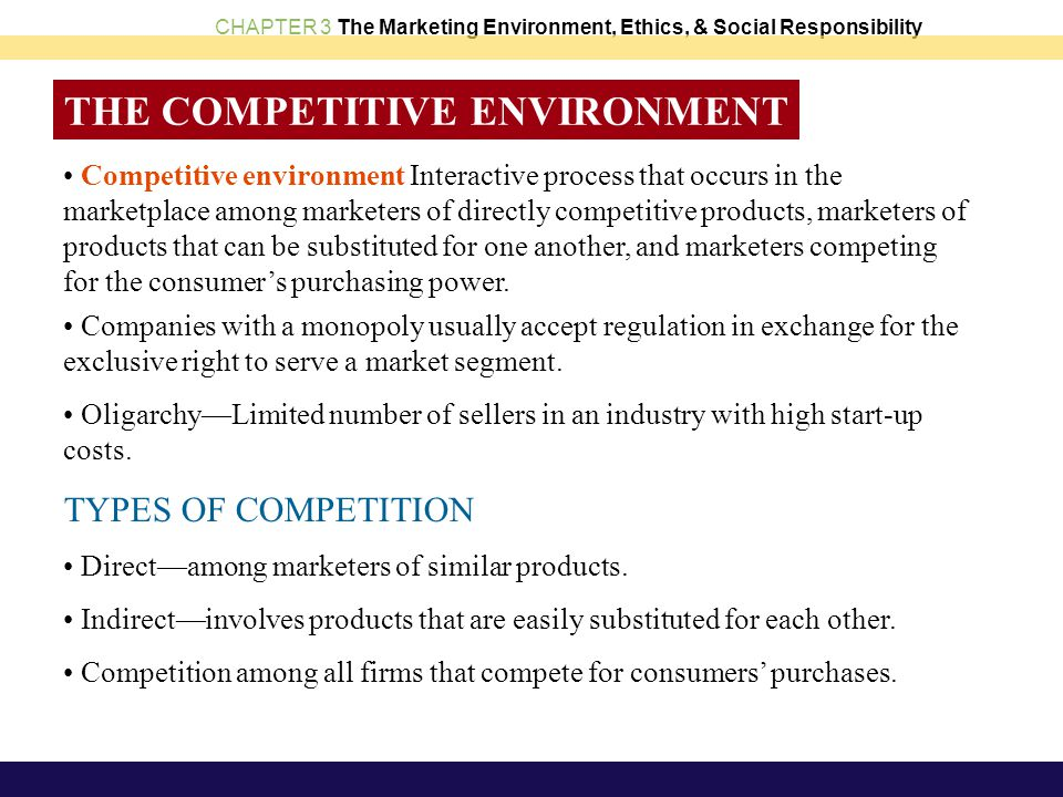 types of market environments and the