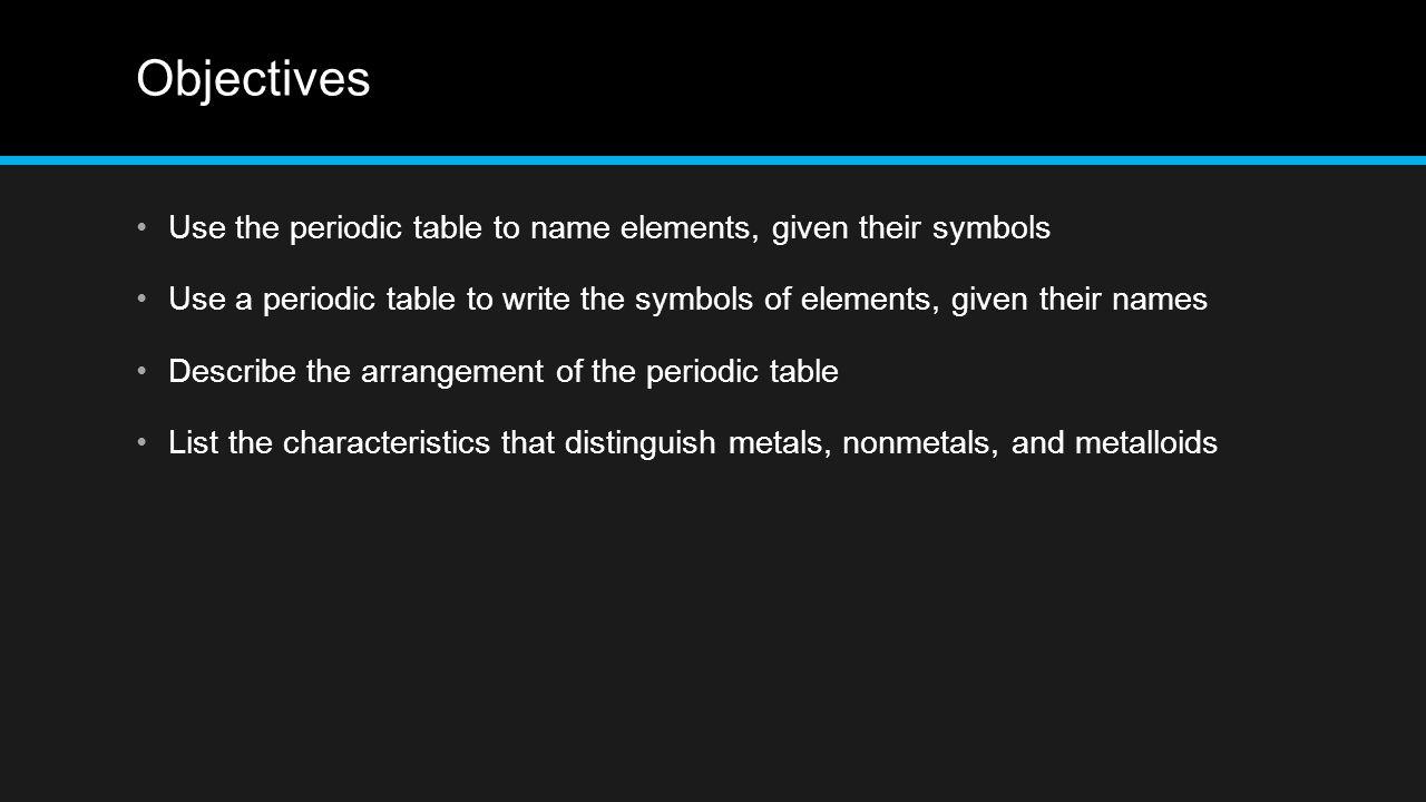 Elements section 3 objectives use the periodic table to name 12 objectives use the periodic table to name urtaz Choice Image