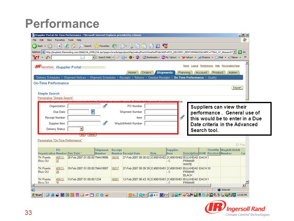 33 Performance Suppliers can view their performance.