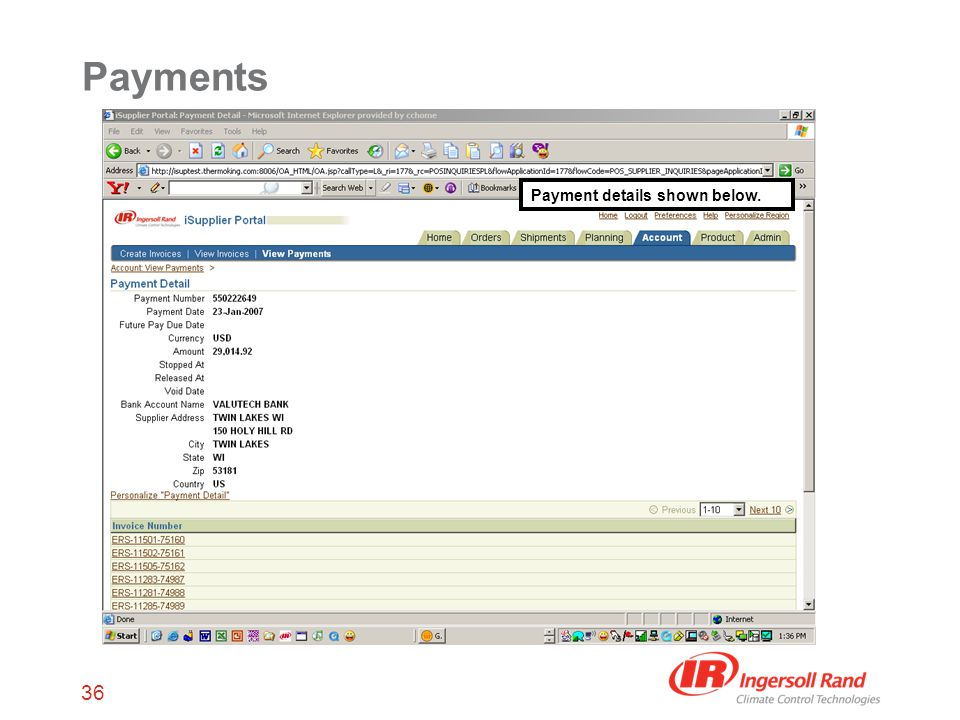36 Payments Payment details shown below.