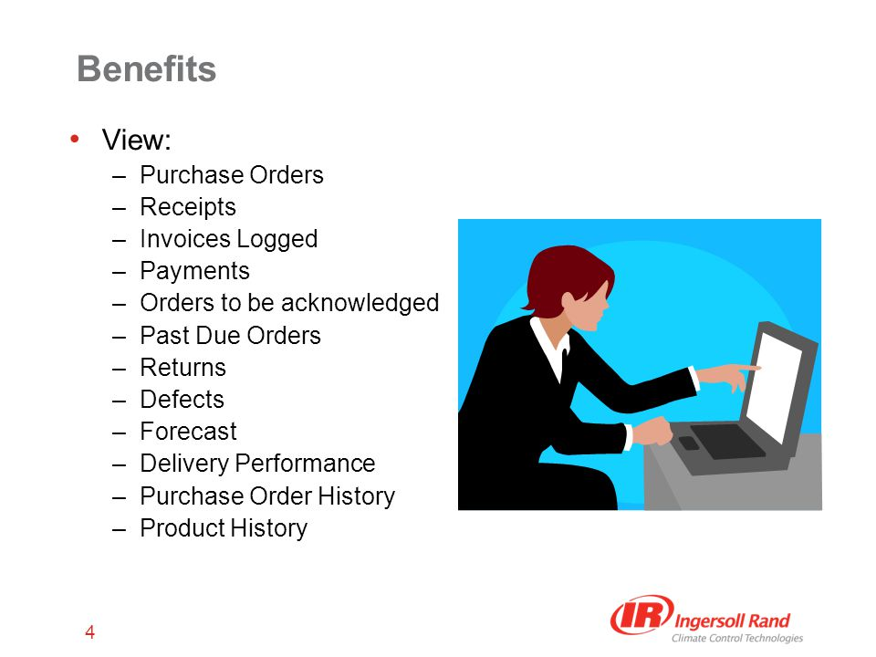 4 Benefits View: –Purchase Orders –Receipts –Invoices Logged –Payments –Orders to be acknowledged –Past Due Orders –Returns –Defects –Forecast –Delivery Performance –Purchase Order History –Product History