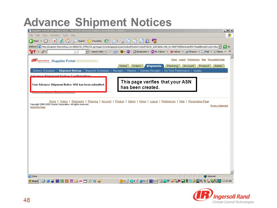 46 Advance Shipment Notices This page verifies that your ASN has been created.