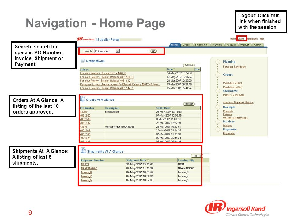 9 Navigation - Home Page Search: search for specific PO Number, Invoice, Shipment or Payment.