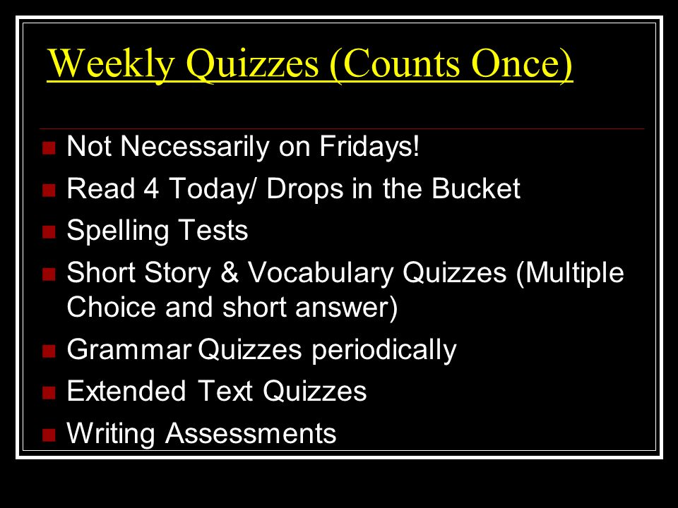 Weekly Assignments to look for: Drops in the Bucket (replacing DLR) Read 4 Today (on back of Drops) Writing Traits Daily Review Spelling &Vocabulary Words for story selection Grammar Skills Reading / Comprehension Skills