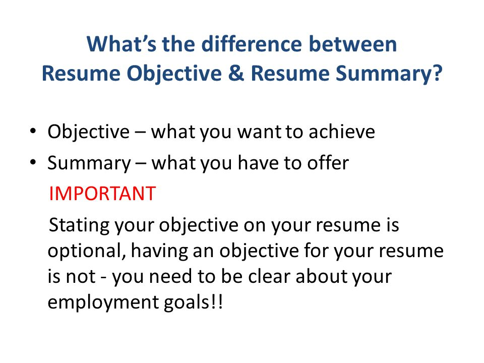 is an objective needed on a resumes