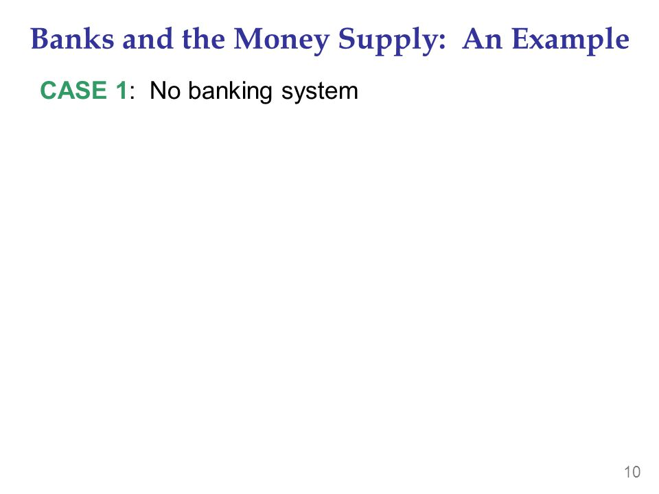 10 Banks and the Money Supply: An Example CASE 1: No banking system