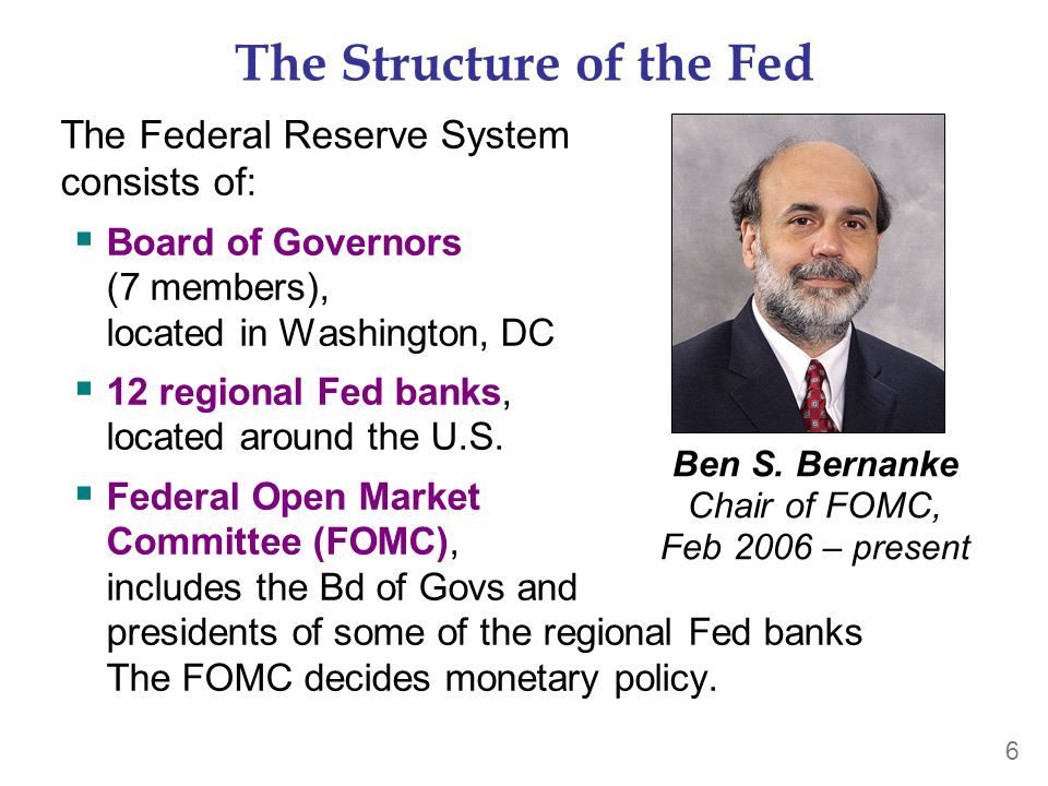 6 The Structure of the Fed The Federal Reserve System consists of:  Board of Governors (7 members), located in Washington, DC  12 regional Fed banks, located around the U.S.