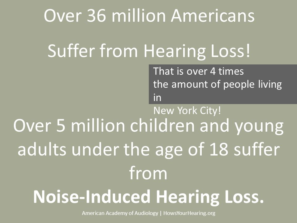 American Academy of Audiology | HowsYourHearing.org Over 36 million Americans Suffer from Hearing Loss.