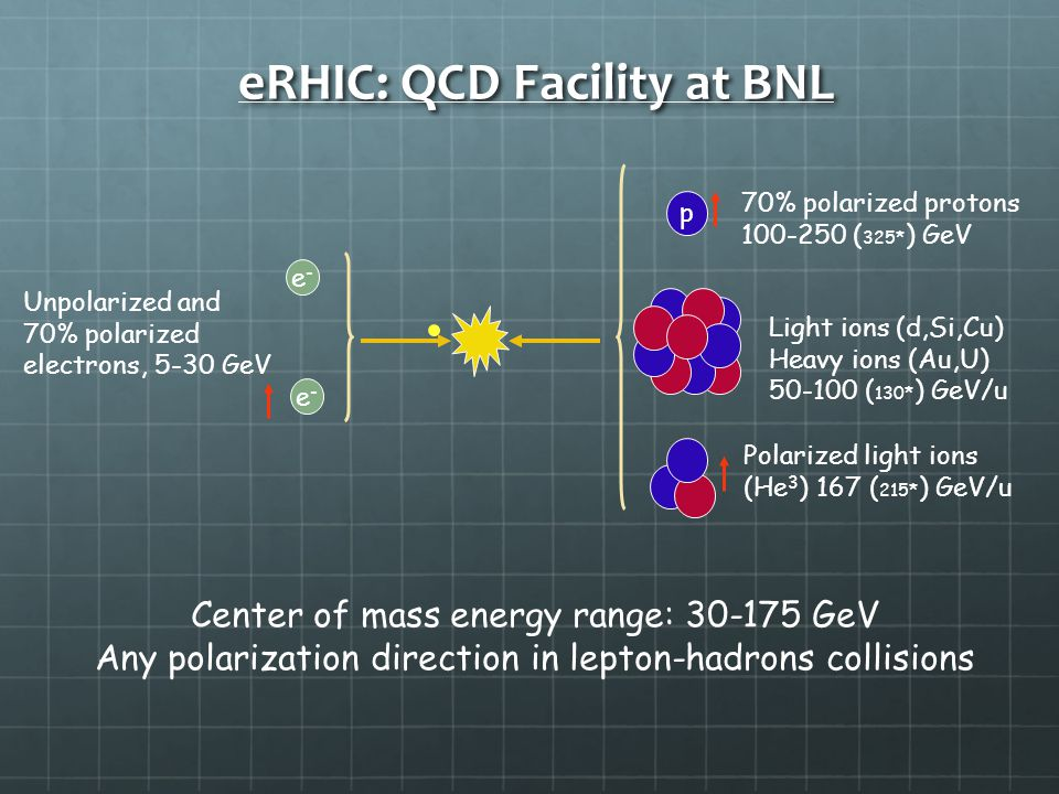 eRHIC: QCD Facility at BNL e-e- p Unpolarized and 70% polarized electrons, 5-30 GeV Polarized light ions (He 3 ) 167 ( 215* ) GeV/u Light ions (d,Si,Cu) Heavy ions (Au,U) ( 130* ) GeV/u 70% polarized protons ( 325* ) GeV Center of mass energy range: GeV Any polarization direction in lepton-hadrons collisions e-e-