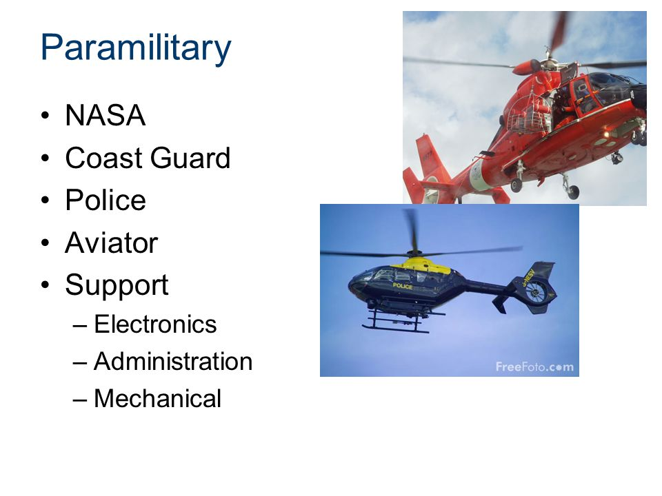 Paramilitary NASA Coast Guard Police Aviator Support –Electronics –Administration –Mechanical