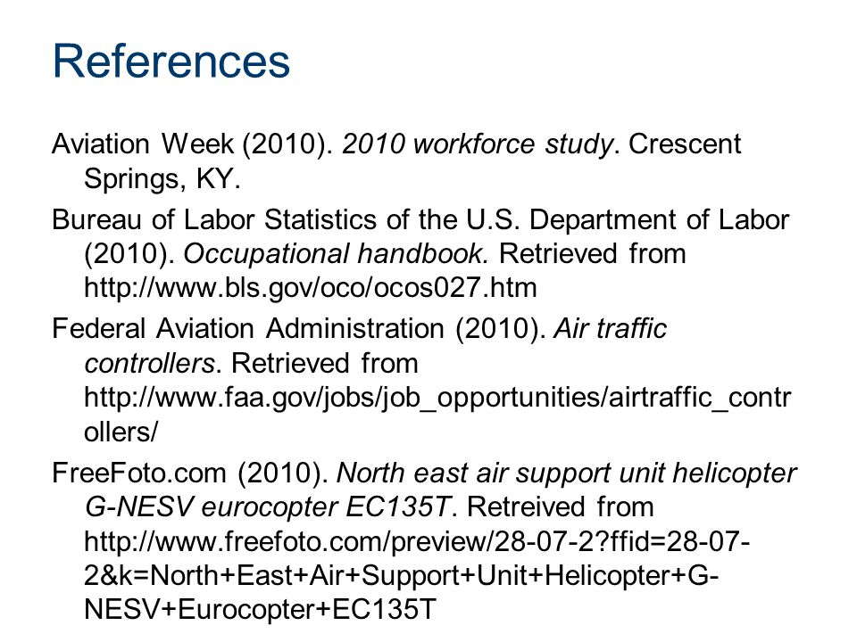References Aviation Week (2010) workforce study.