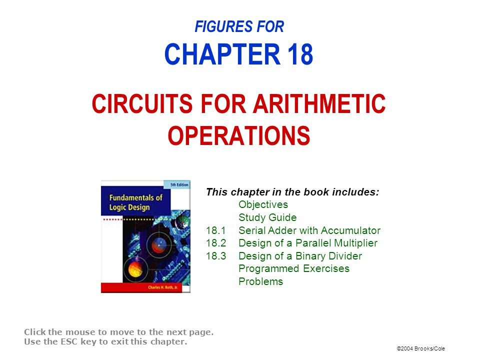 ©2004 Brooks/Cole FIGURES FOR CHAPTER 18 CIRCUITS FOR ARITHMETIC OPERATIONS Click the mouse to move to the next page.
