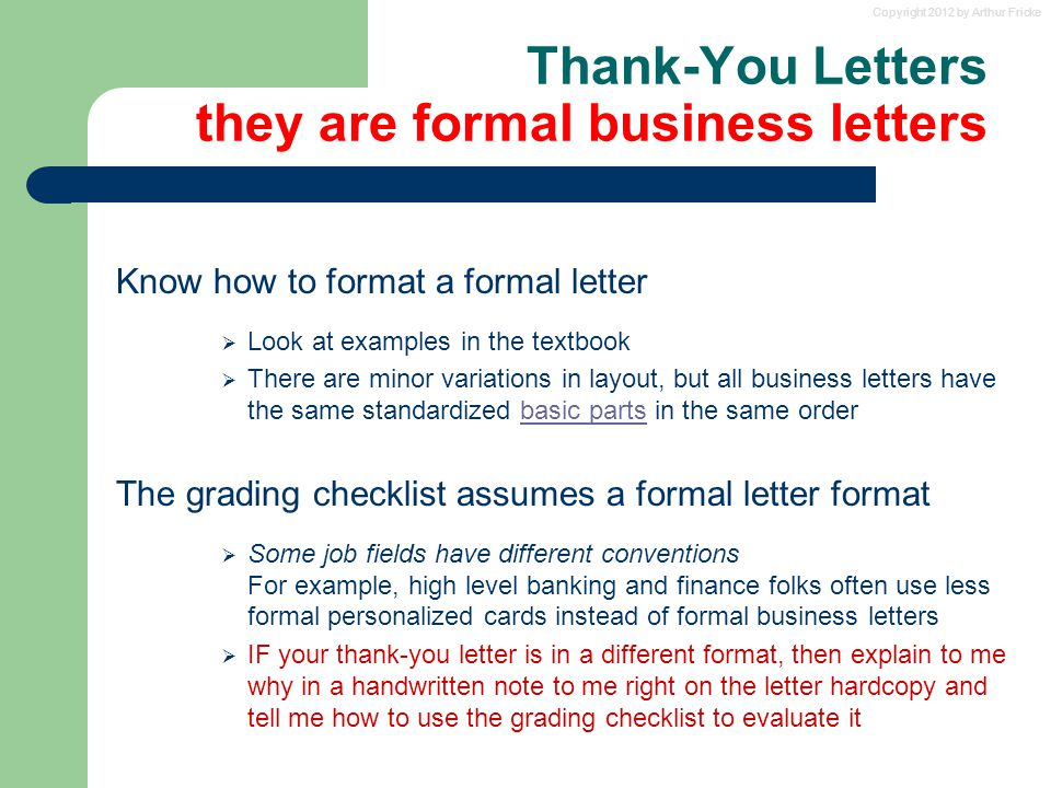 Copyright 2012 By Arthur Fricke Thank-You Letter Advice And