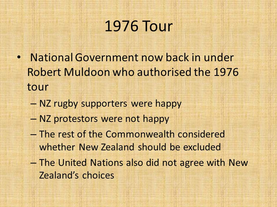 1976 Tour National Government now back in under Robert Muldoon who authorised the 1976 tour – NZ rugby supporters were happy – NZ protestors were not happy – The rest of the Commonwealth considered whether New Zealand should be excluded – The United Nations also did not agree with New Zealand's choices