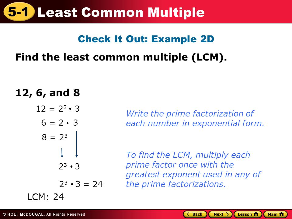 5-1 Least Common Multiple Learn to find the least common multiple ...