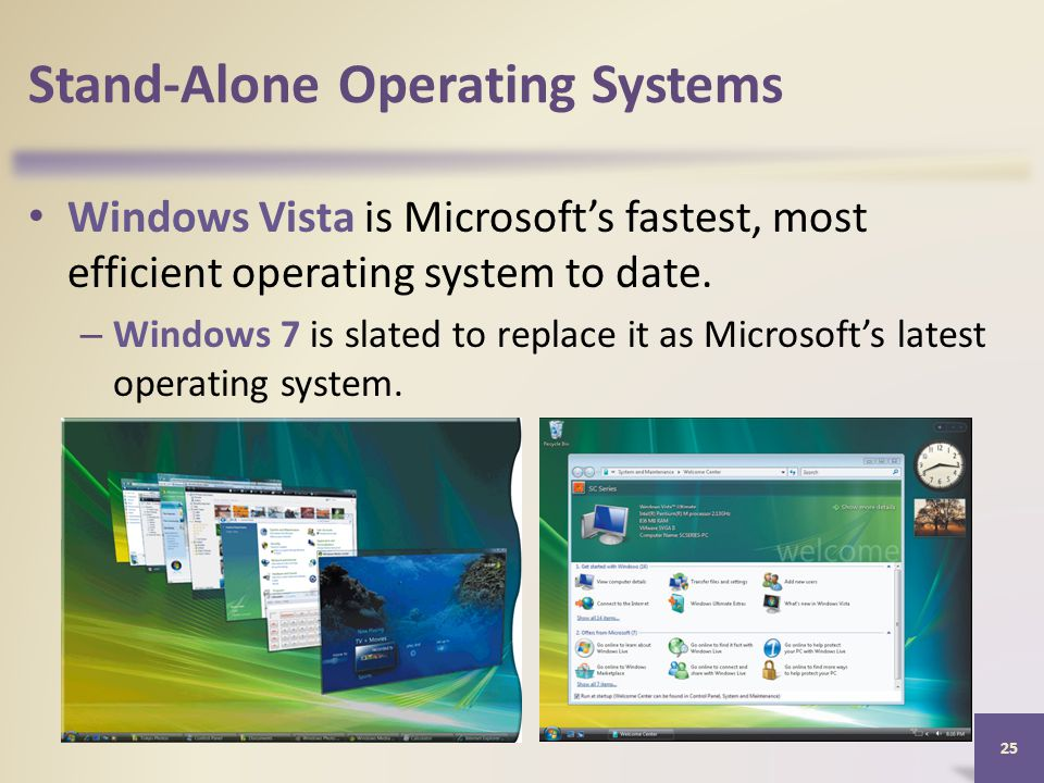 Stand-Alone Operating Systems Windows Vista is Microsoft's fastest, most efficient operating system to date.