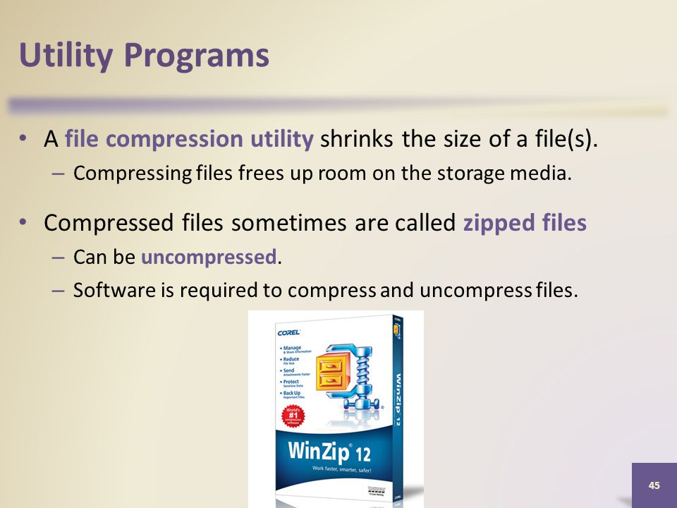 Utility Programs A file compression utility shrinks the size of a file(s).