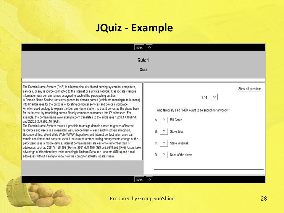 28 JQuiz - Example Prepared by Group SunShine