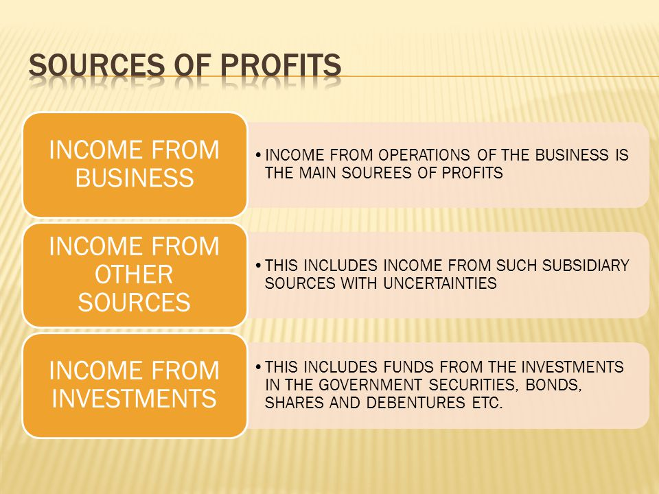 INCOME FROM OPERATIONS OF THE BUSINESS IS THE MAIN SOUREES OF PROFITS INCOME FROM BUSINESS THIS INCLUDES INCOME FROM SUCH SUBSIDIARY SOURCES WITH UNCERTAINTIES INCOME FROM OTHER SOURCES THIS INCLUDES FUNDS FROM THE INVESTMENTS IN THE GOVERNMENT SECURITIES, BONDS, SHARES AND DEBENTURES ETC.
