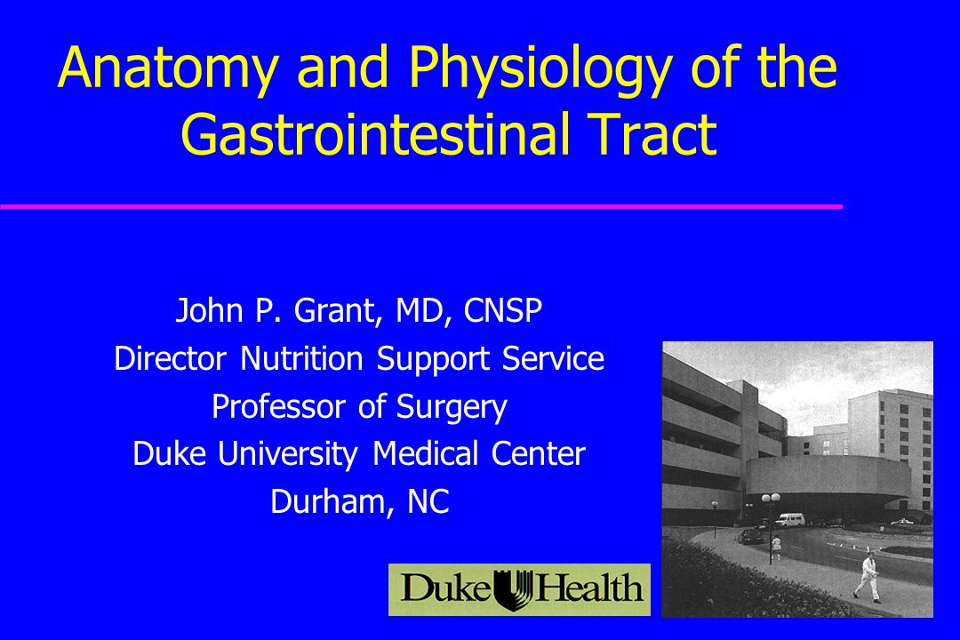 Anatomy and Physiology of the Gastrointestinal Tract John P. Grant ...