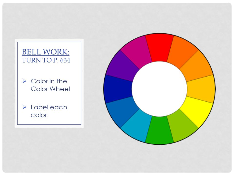 1 Color In The Wheel Label Each BELL WORK TURN TO P 634