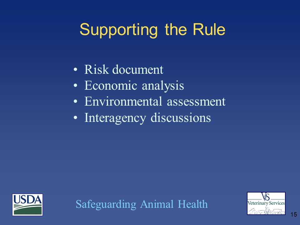 Safeguarding Animal Health 15 Supporting the Rule Risk document Economic analysis Environmental assessment Interagency discussions