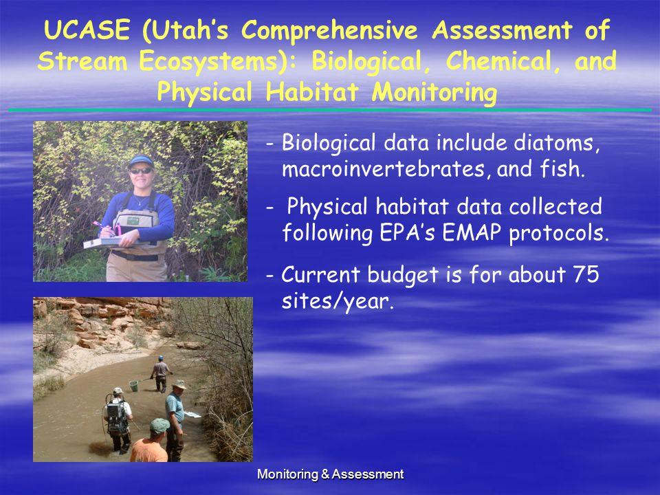 Monitoring & Assessment UCASE (Utah's Comprehensive Assessment of Stream Ecosystems): Biological, Chemical, and Physical Habitat Monitoring - Biological data include diatoms, macroinvertebrates, and fish.