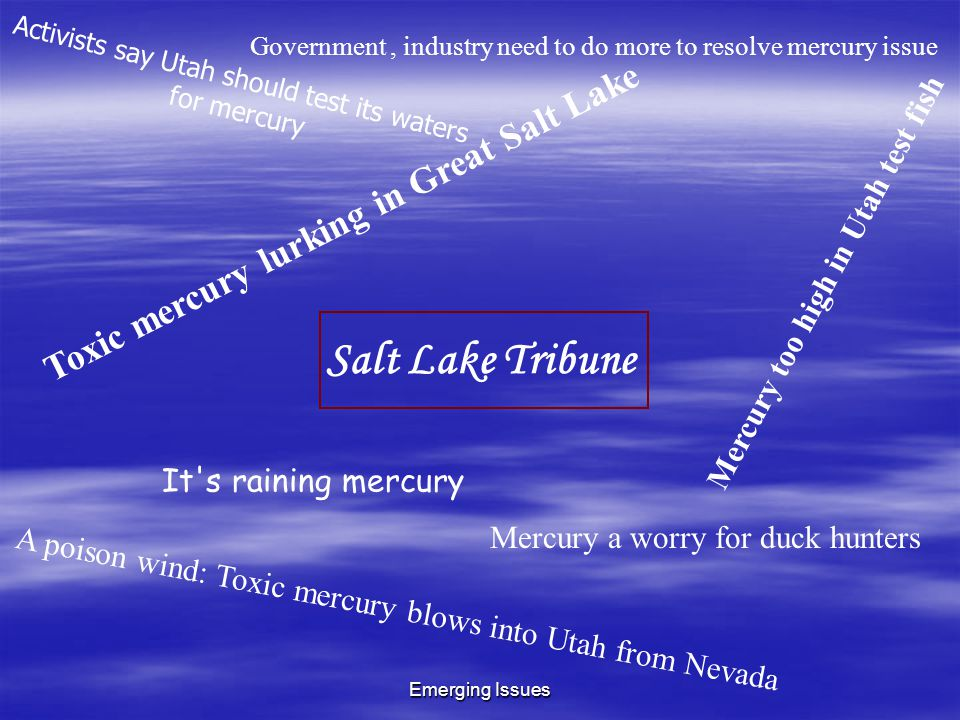 Emerging Issues Salt Lake Tribune Toxic mercury lurking in Great Salt Lake A poison wind: Toxic mercury blows into Utah from Nevada Mercury a worry for duck hunters Government, industry need to do more to resolve mercury issue Mercury too high in Utah test fish It s raining mercury Activists say Utah should test its waters for mercury