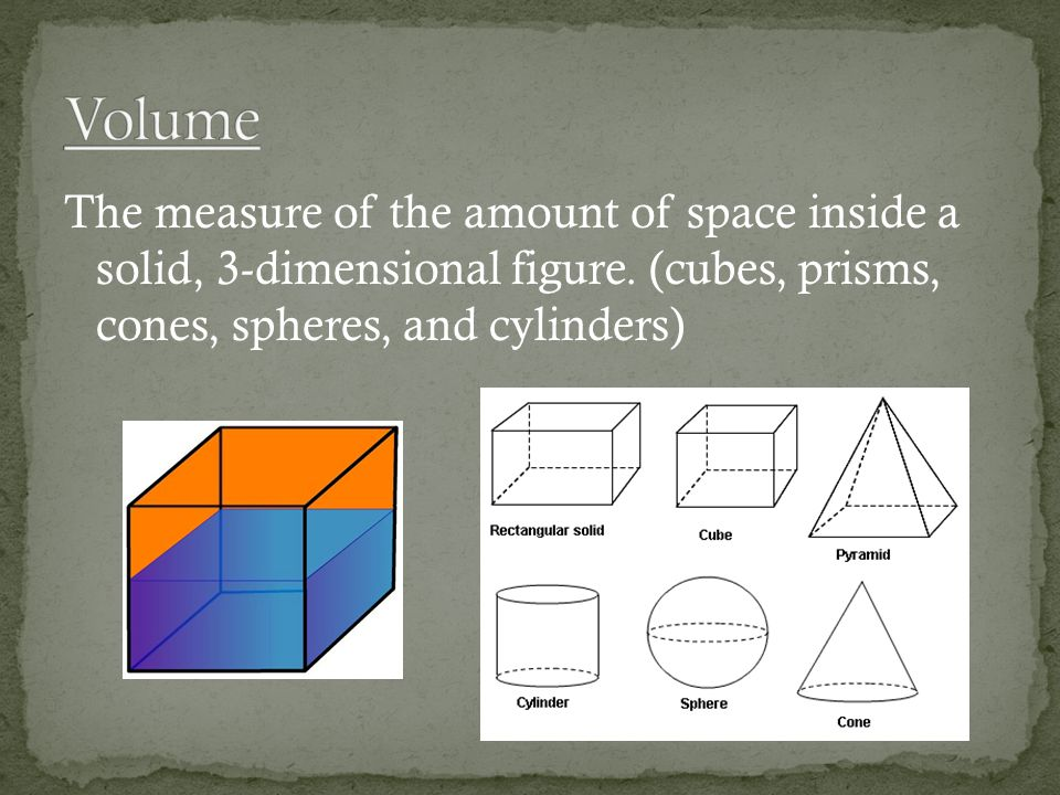 The measure of the amount of space inside a solid, 3-dimensional figure.