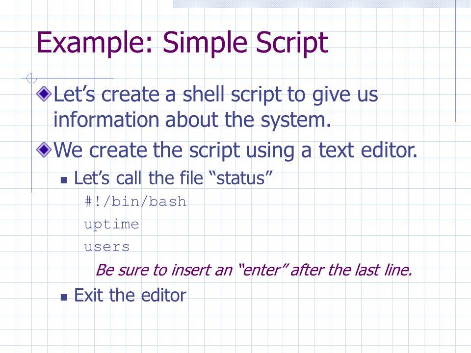 unit 2 shell scripting research Example n-2 viewdatash: shell script conversion of viewdatabat #/bin/bash # viewdatash # conversion of viewdatabat to shell script.