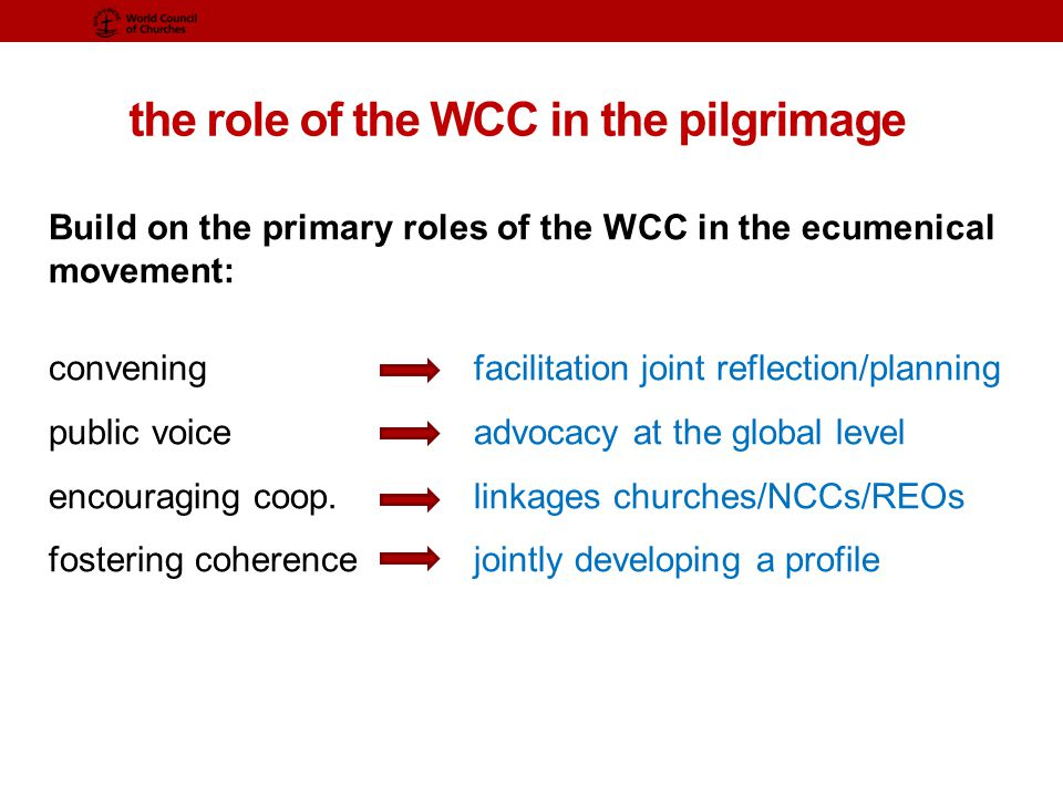 the role of the WCC in the pilgrimage Build on the primary roles of the WCC in the ecumenical movement: convening facilitation joint reflection/planning public voiceadvocacy at the global level encouraging coop.linkages churches/NCCs/REOs fostering coherencejointly developing a profile