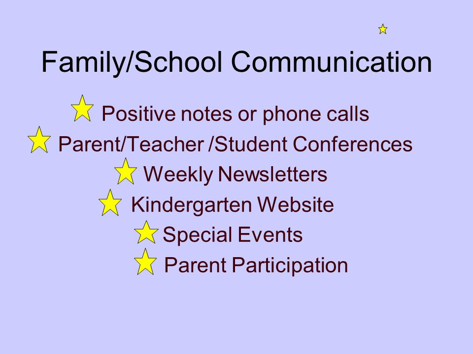 Family/School Communication Positive notes or phone calls Parent/Teacher /Student Conferences Weekly Newsletters Kindergarten Website Special Events Parent Participation