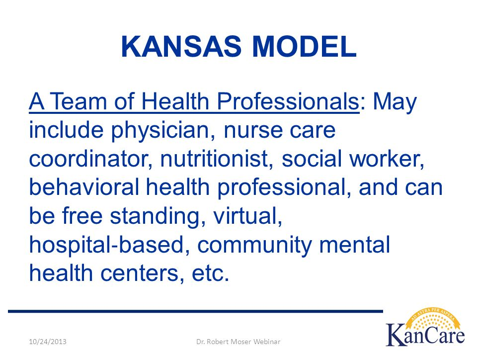 A Team of Health Professionals: May include physician, nurse care coordinator, nutritionist, social worker, behavioral health professional, and can be free standing, virtual, hospital ‐ based, community mental health centers, etc.