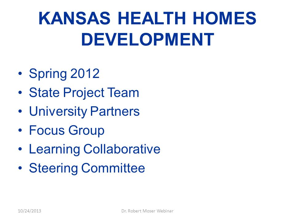 KANSAS HEALTH HOMES DEVELOPMENT Spring 2012 State Project Team University Partners Focus Group Learning Collaborative Steering Committee 10/24/2013Dr.